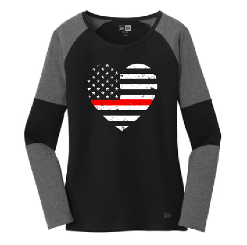 Grunge Flag Heart Ladies Colorblock Baseball Tee (TRL + Graphine/Black)