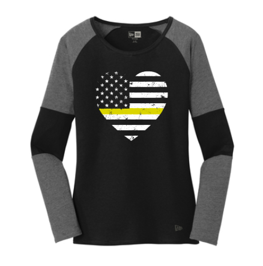 Grunge Flag Heart Ladies Colorblock Baseball Tee (Thin Gold Line + Graphine/Black)