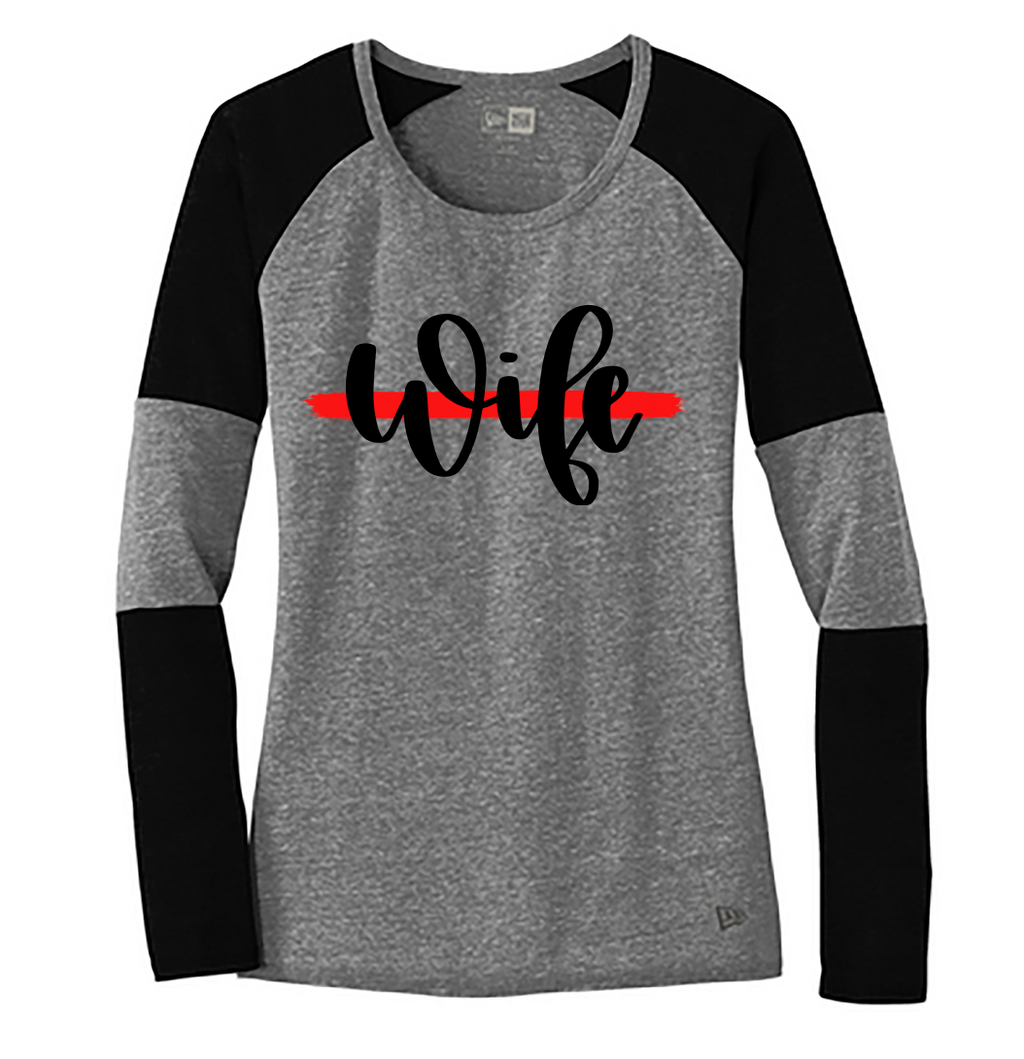 Wife Script Ladies Colorblock Baseball Tee (TRL + Shadow Grey/Black)