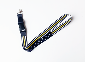 Stars and Stripes Satin Lanyard (Thin Gold Line)