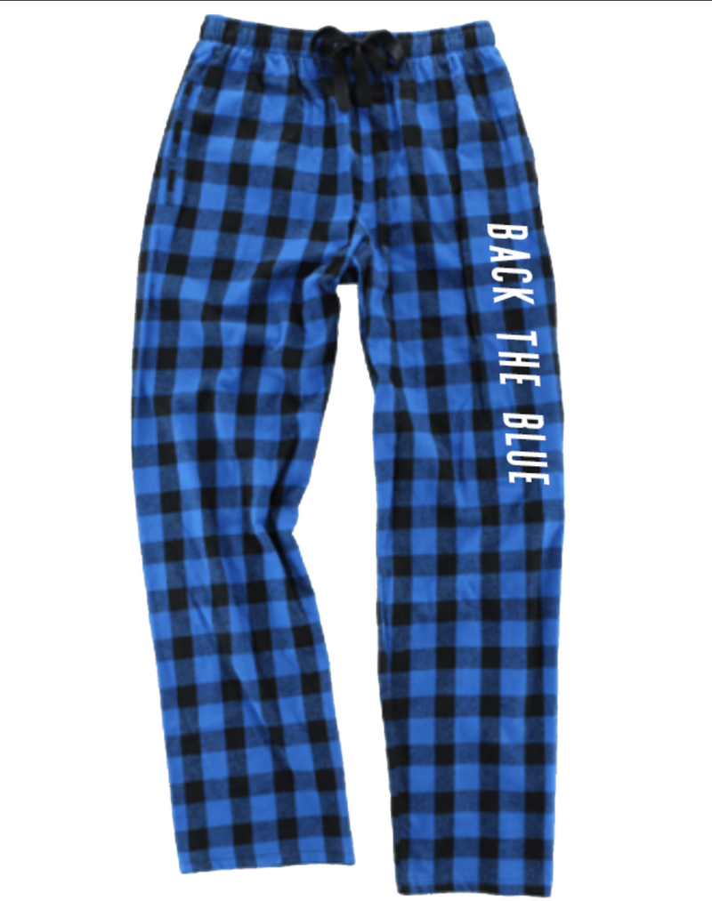 Back The Blue Flannel Pants With Pockets [Royal Blue/Black Buffalo]