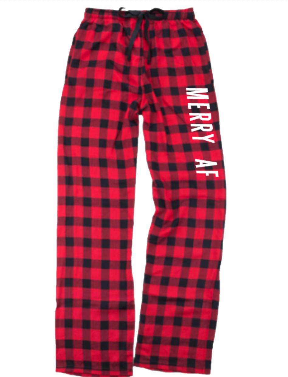 Merry AF Flannel Pants With Pockets [Red/Black Buffalo]