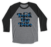Back The Blue Script © Unisex Baseball Raglan (Buffalo Plaid)