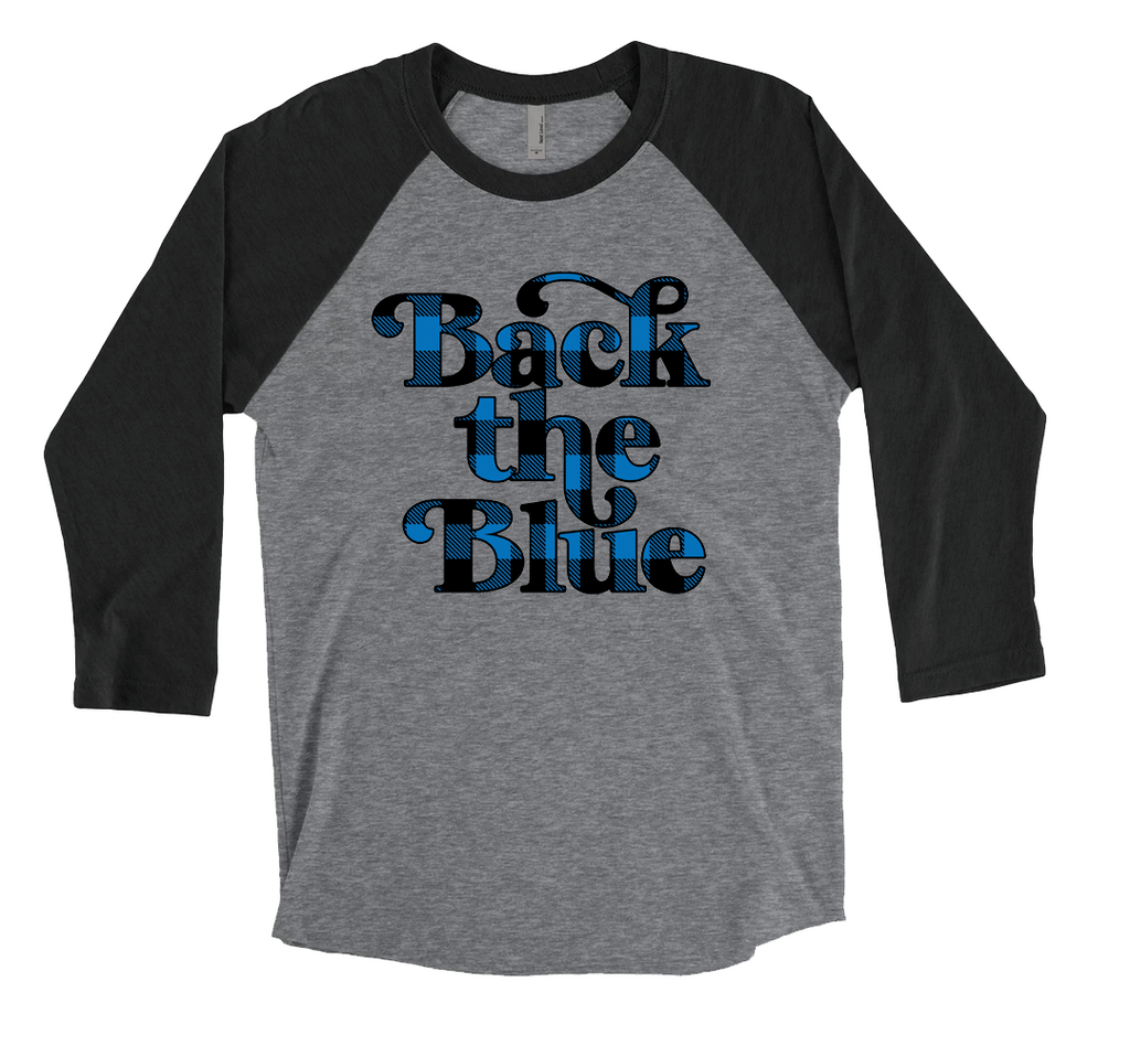 Back The Blue Script Unisex Baseball Raglan (Buffalo Plaid)