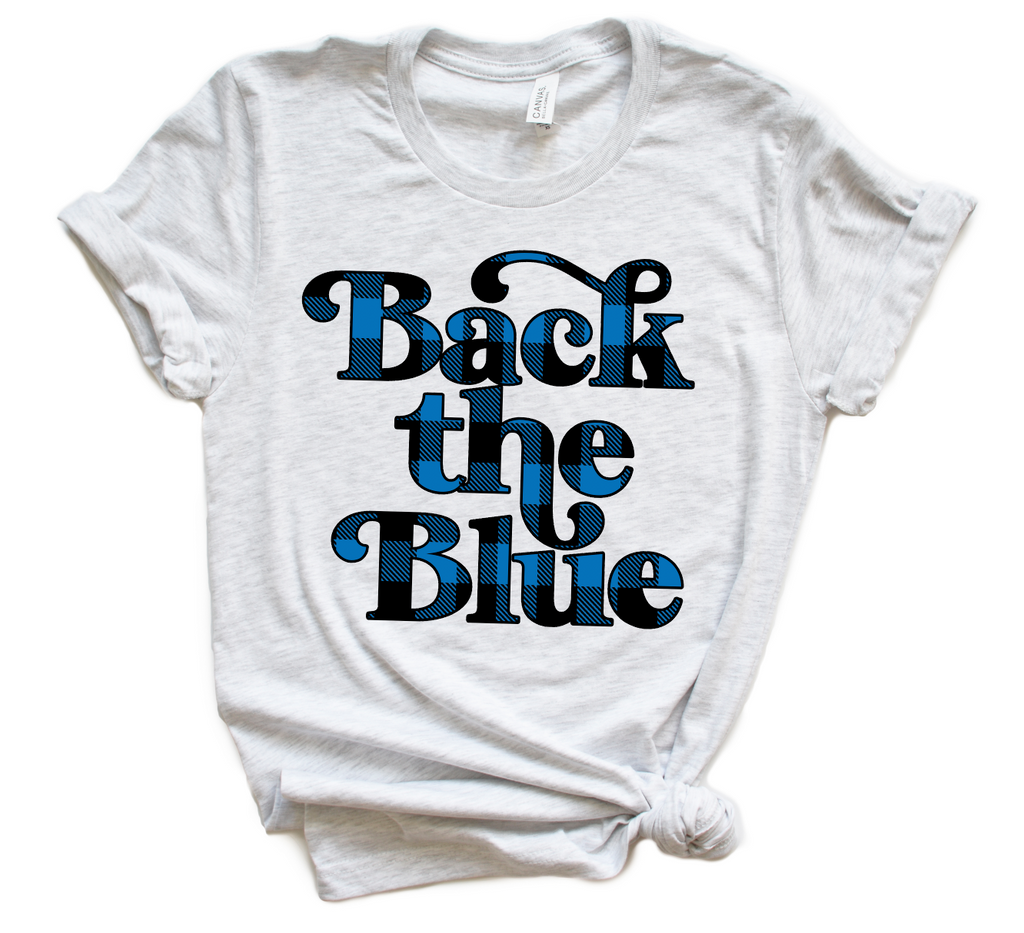 Back The Blue Script Unisex Top (Buffalo Plaid)