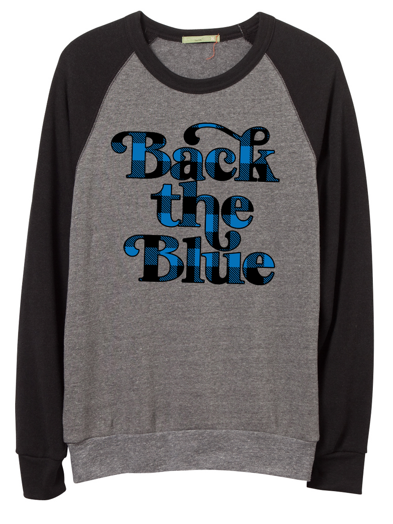 Back The Blue Script Unisex Crewneck Sweatshirt (Buffalo Plaid)