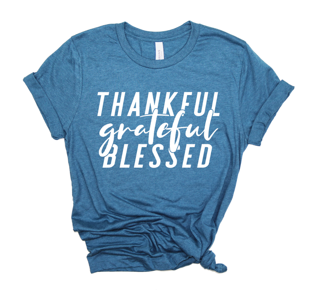 Thankful Grateful Blessed Unisex Top (White)