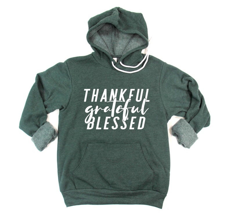 Thankful Grateful Blessed Unisex Pullover Hoodie (White)