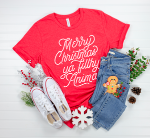 Merry Christmas Ya Filthy Animal Unisex Tee (White)