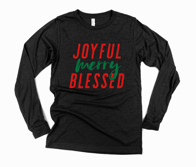 Joyful Merry Blessed L/S Unisex Top (Red/Green Glitter)