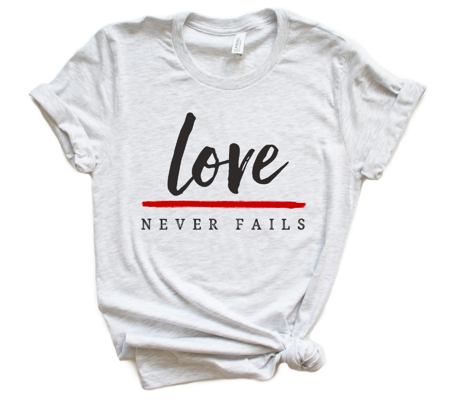 Love Never Fails Unisex Top (Thin Red Line)