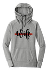 Wife Script Ladies Cowl Neck Fleece Hoodie (TRL + Grey Heather)
