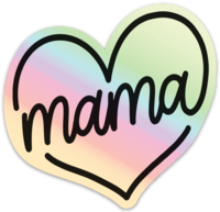 Mama Script Heart © Holographic Printed Decal