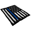 Distressed Thin Blue Line Stars and Stripes Fleece Blanket