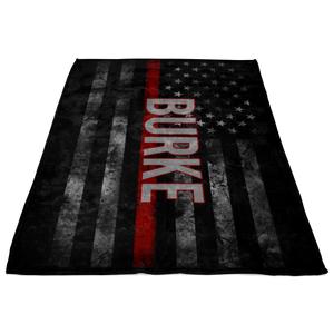 *CUSTOM NAME* Thin RED Line Flag Fleece Blanket