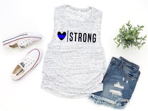 Heart Strong © (Thin Blue Line) Ladies Flowy Muscle Tank