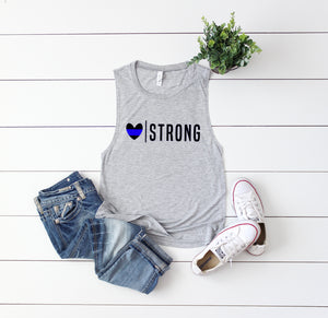 Heart Strong (Thin Blue Line) Ladies Flowy Muscle Tank