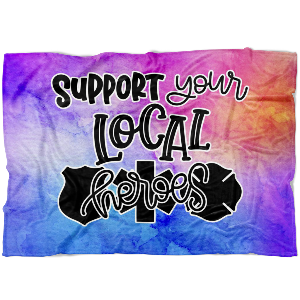 Support Your Local Heroes © Watercolor Fleece Blanket