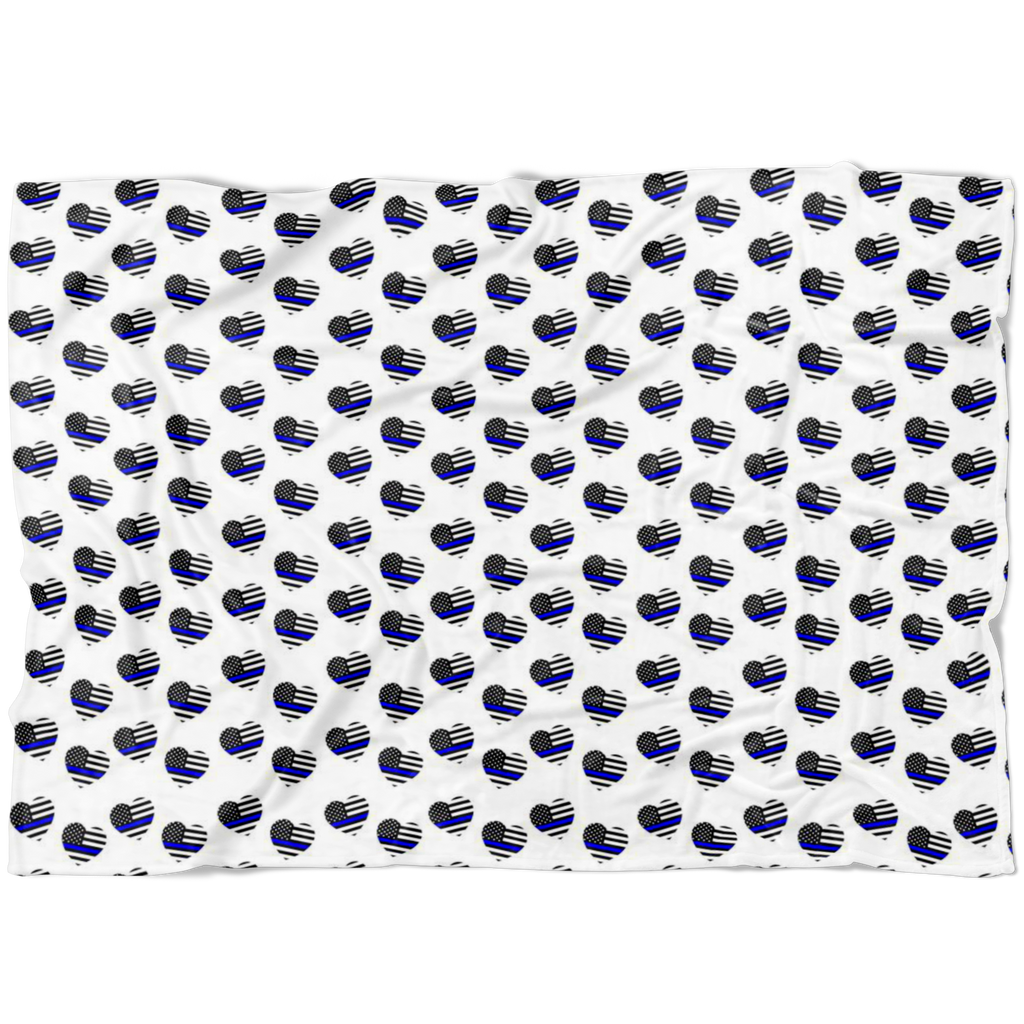 Thin Blue Line Hearts Fleece Blanket