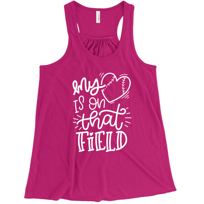 My Heart Is On That Field Ladies Flowy Racerback