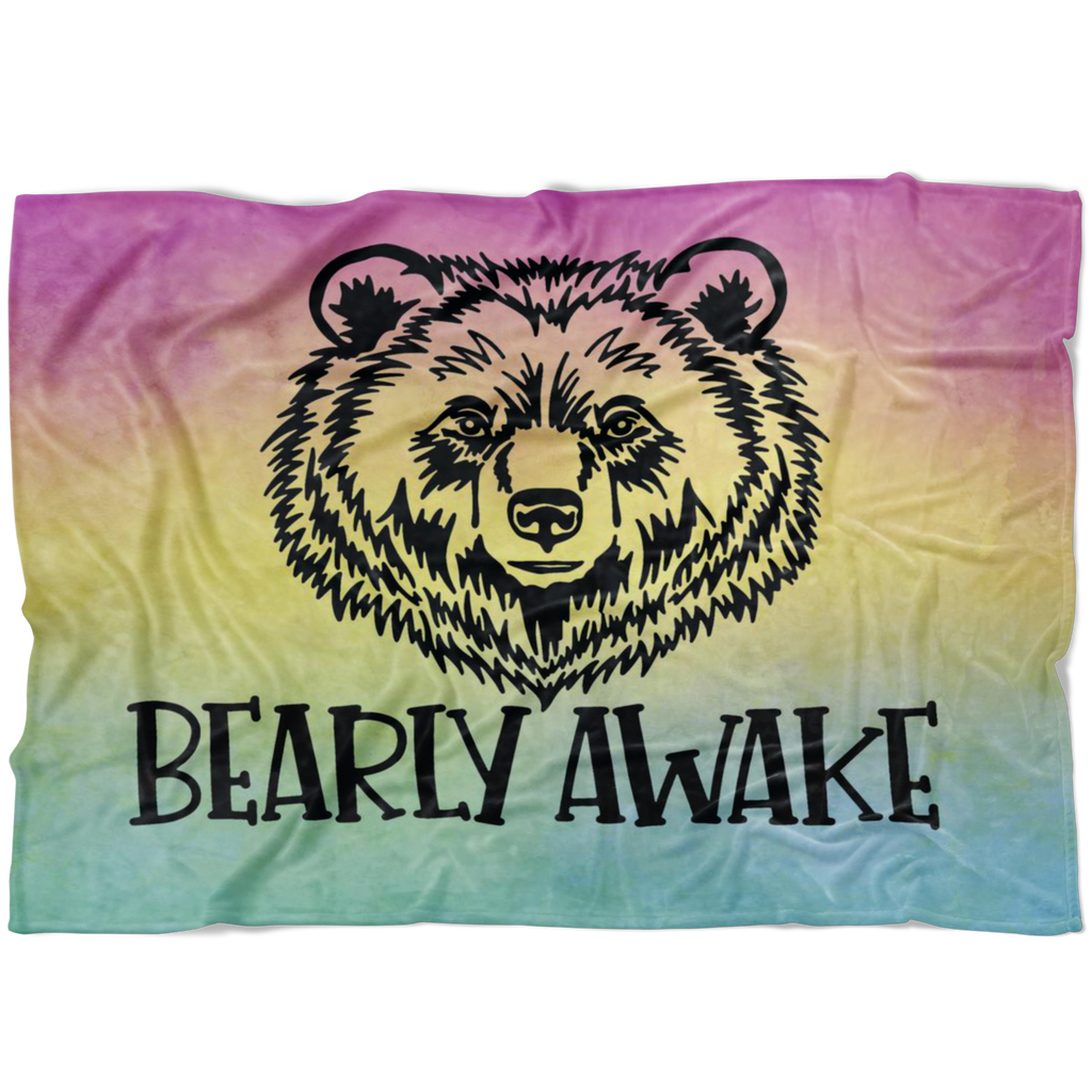 Bearly Awake Watercolor Fleece Blanket
