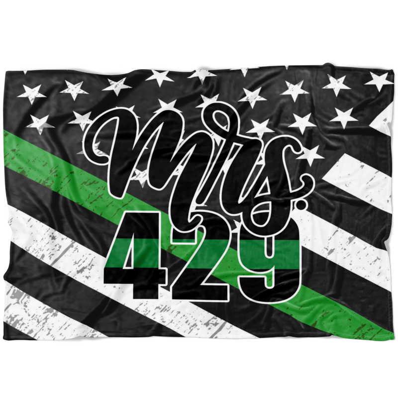 *CUSTOM* The ORIGINAL Mrs Badge Number © Fleece Blanket (Thin Green Line)