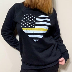 Grunge Flag Heart Flag Unisex Crewneck Sweatshirt (White + Thin GOLD Line)