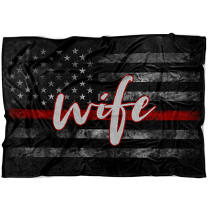 Thin Red Line WIFE Flag Fleece Blanket