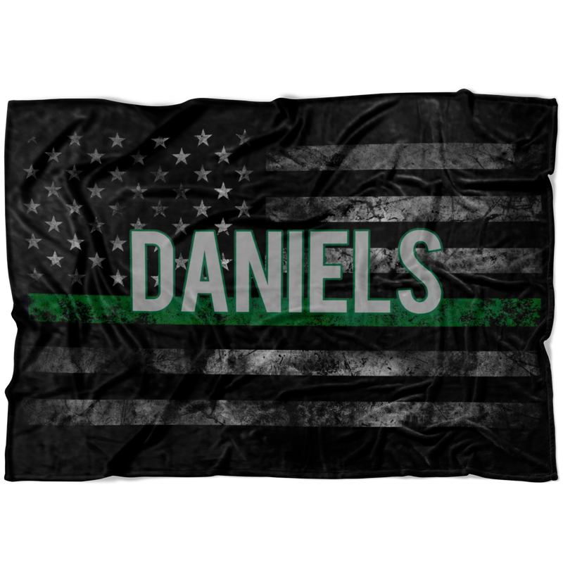 *CUSTOM NAME* Thin Green Line Flag Fleece Blanket