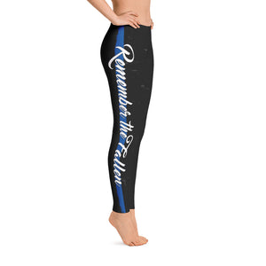 Thin Blue Line Remember The Fallen Adult Printed Leggings