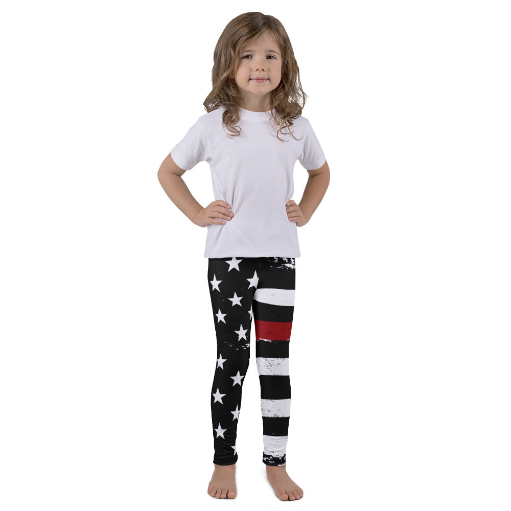 Distressed Thin Red Line Stars and Stripes Kid's leggings