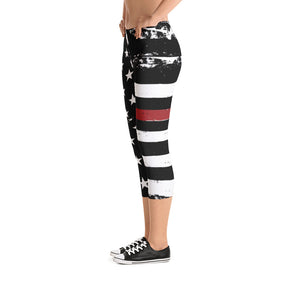 Thin Red Line Distressed Stars and Stripes Capris