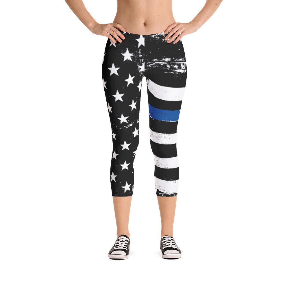 Thin Blue Line Distressed Stars and Stripes Capris