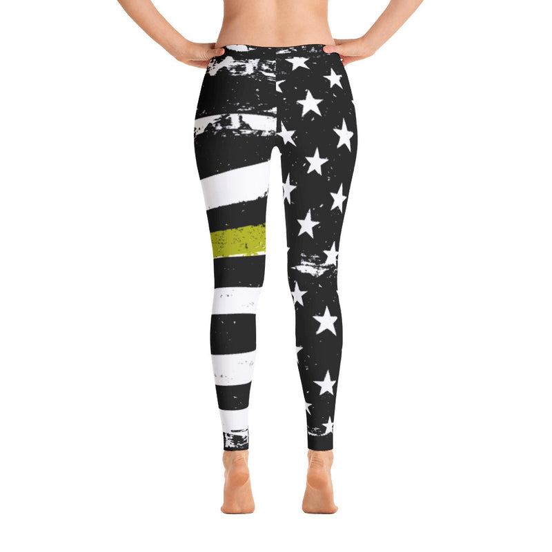 Thin Gold Line Distressed Stars and Stripes Leggings