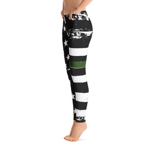 Thin Green Line Distressed Stars and Stripes Adult Printed Leggings