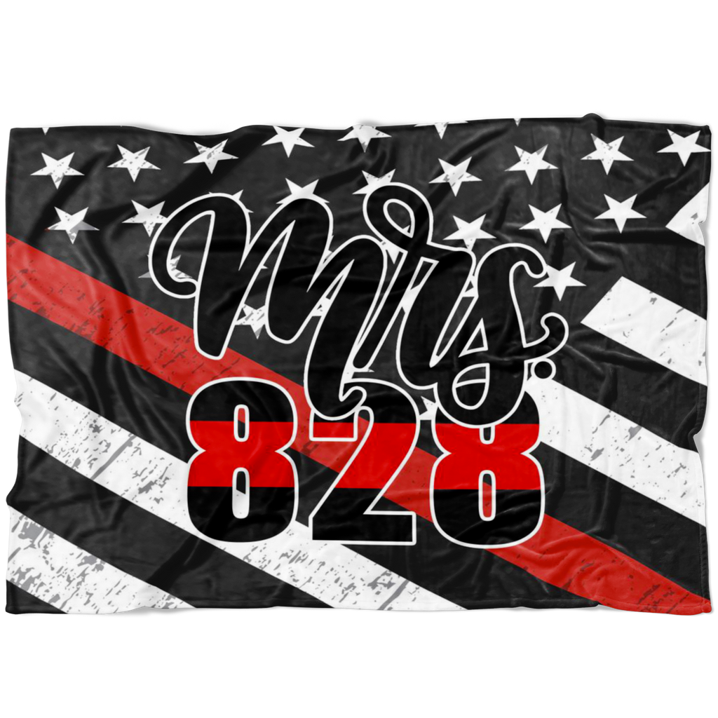*CUSTOM* The ORIGINAL Mrs Badge Number © Fleece Blanket (Thin Red Line)