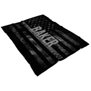 *CUSTOM NAME* Thin Silver Line Flag Fleece Blanket