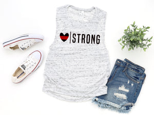 Heart Strong© (Thin Red Line) Ladies Flowy Muscle Tank