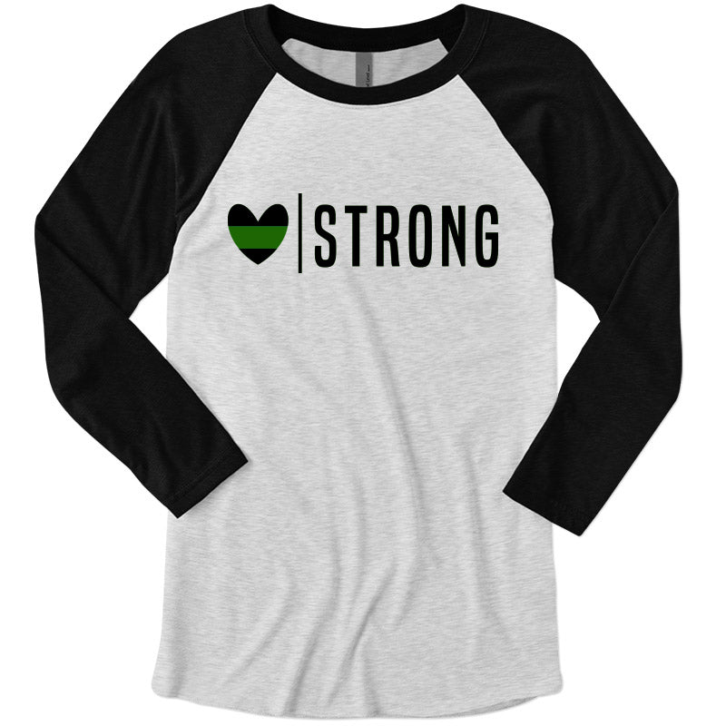 Heart Strong© (Thin Green Line) Unisex Baseball Raglan