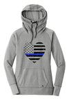 Grunge Flag Heart Ladies Cowl Neck Fleece Hoodie (TBL + Grey Heather)