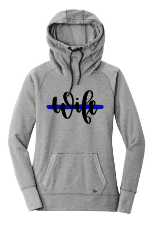 Wife Script Ladies Cowl Neck Fleece Hoodie (TBL + Grey Heather)