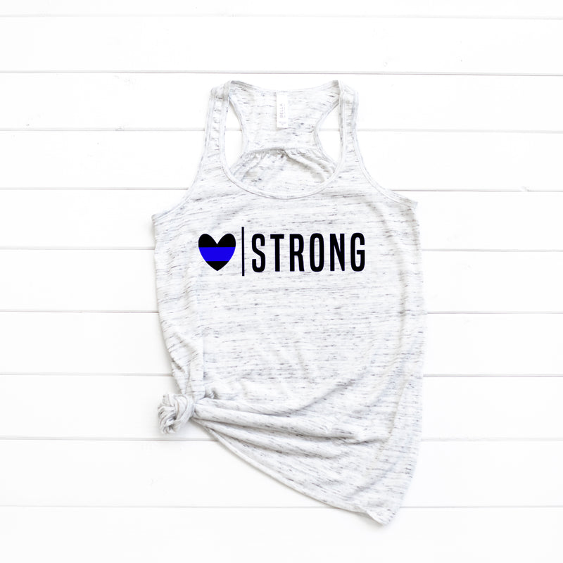Heart Strong (Thin Blue Line) Flowy Racerback Top