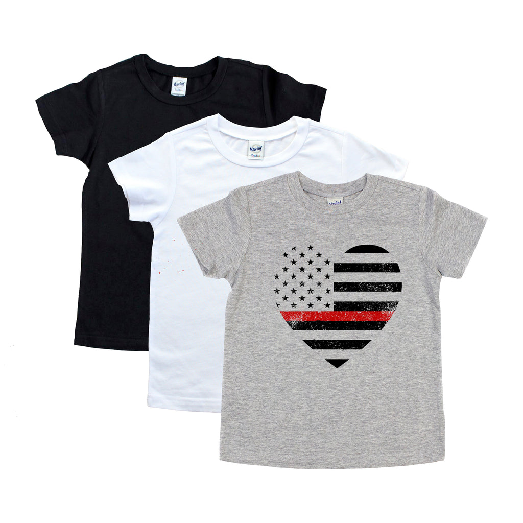 Thin Red Line Grunge Flag Heart - Youth
