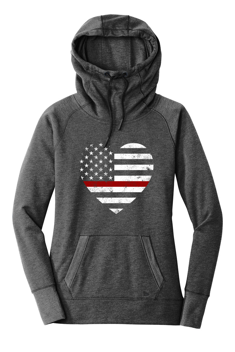 Grunge Flag Heart Ladies Cowl Neck Fleece Hoodie (TRL + Black Heather)
