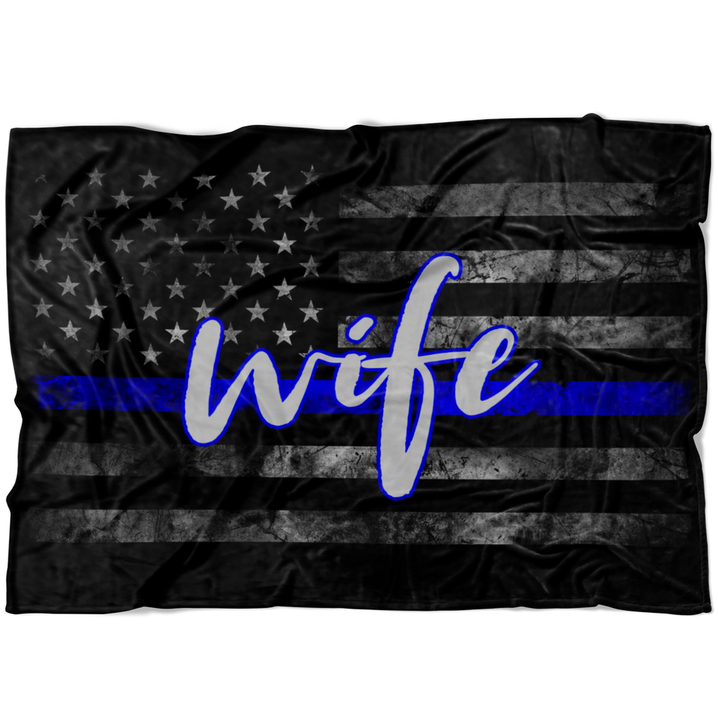 Thin Blue Line WIFE Flag Fleece Blanket
