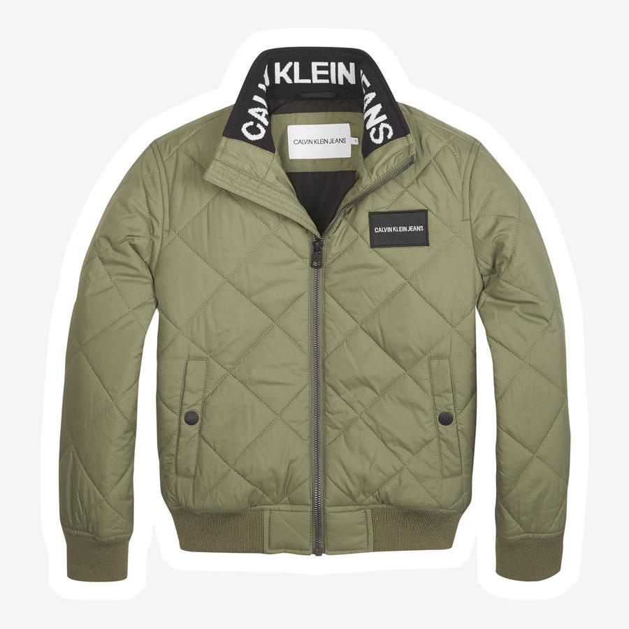 Calvin Klein Quilted Bomber m. logo i kraven army grøn