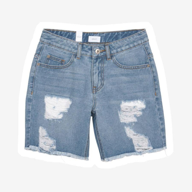 Grunt Destroyed denim shorts lyseblå