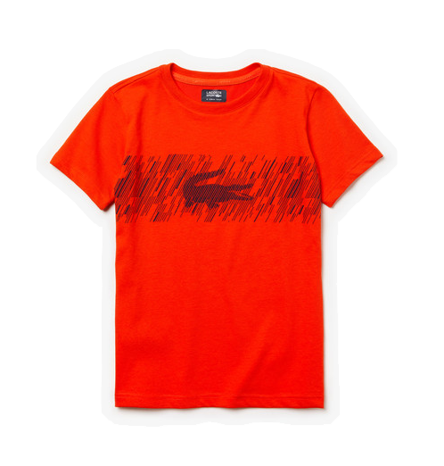 Lacoste t-shirt m. streg logo orange