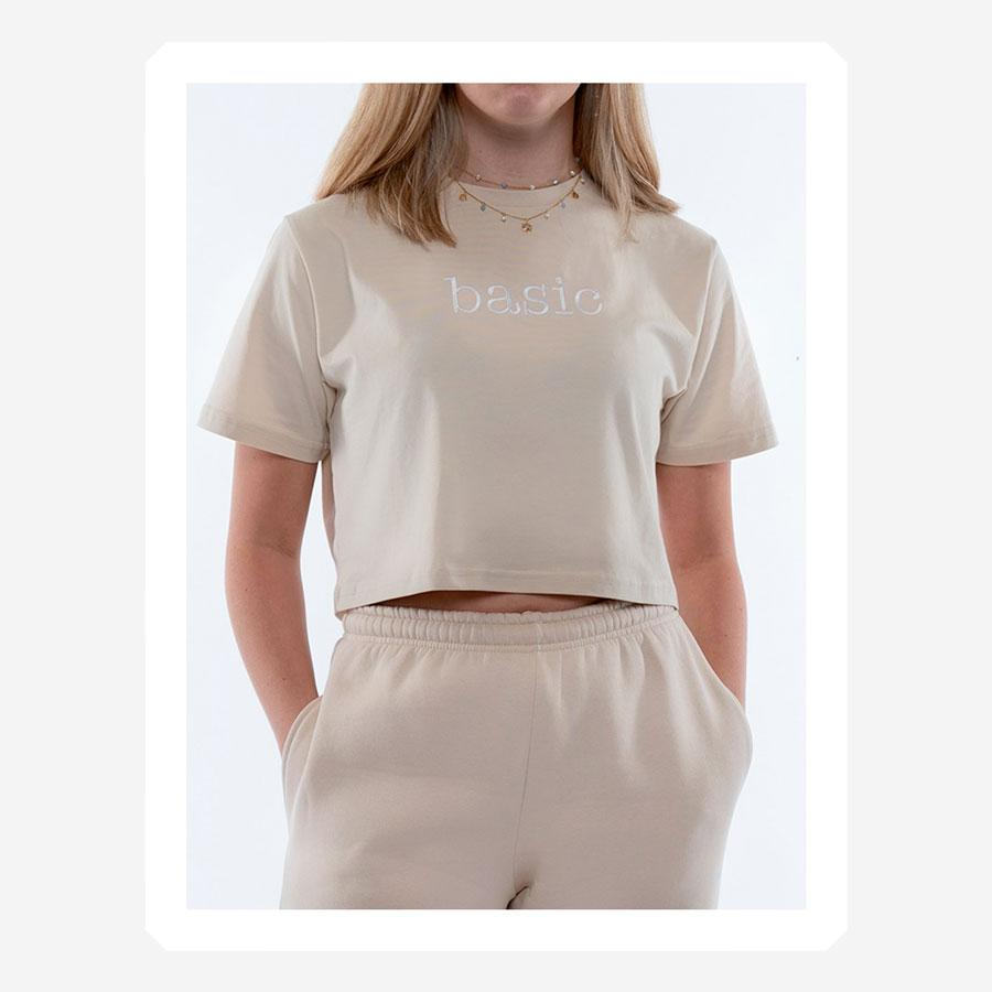 ONME Basic Beige Cropped t-shirt beige