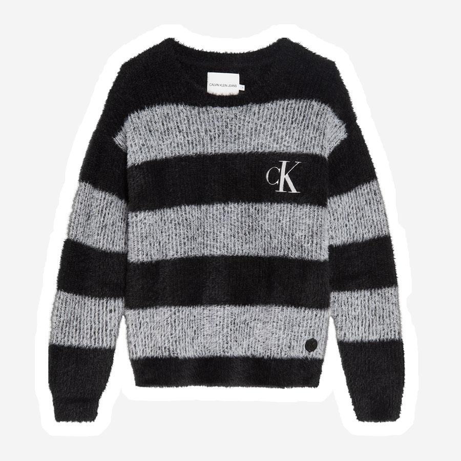 Calvin Klein Striped Fluffy strik sort grå